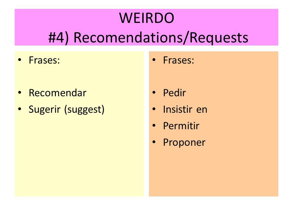 WEIRDO #4) Recomendations/Requests Frases: Recomendar Sugerir (suggest) Frases: Pedir Insistir en Permitir Proponer