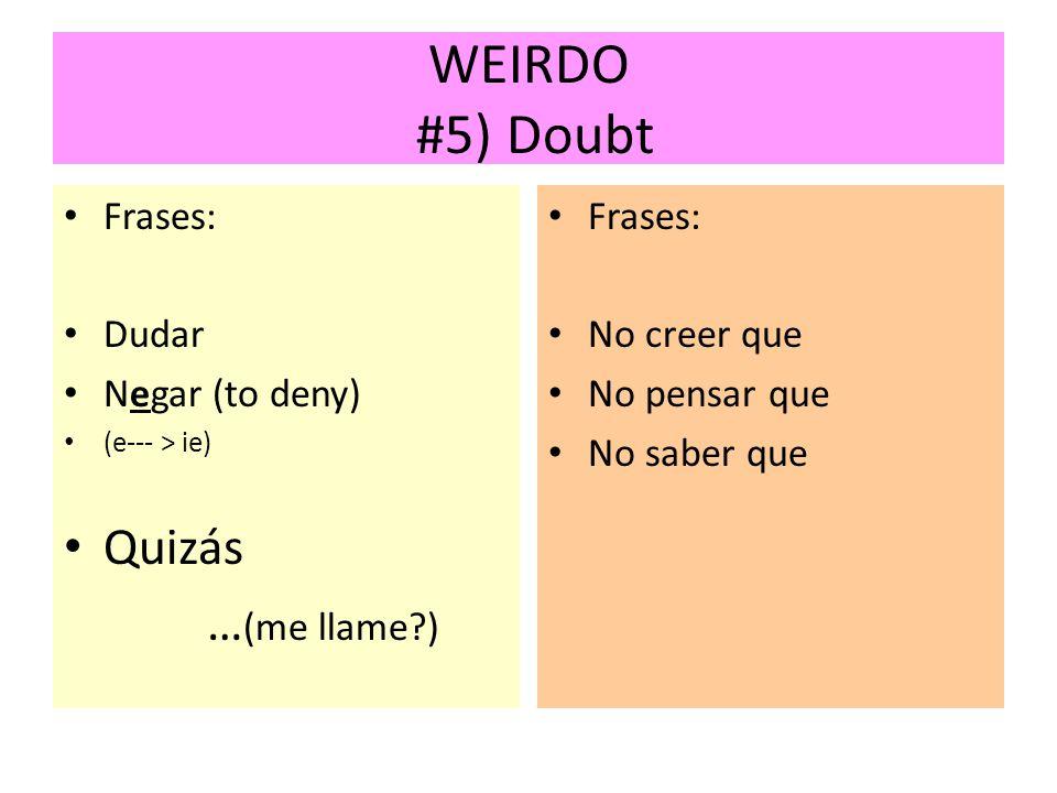 WEIRDO #5) Doubt Frases: Dudar Negar (to deny) (e--- > ie) Quizás … (me llame?) Frases: No creer que No pensar que No saber que