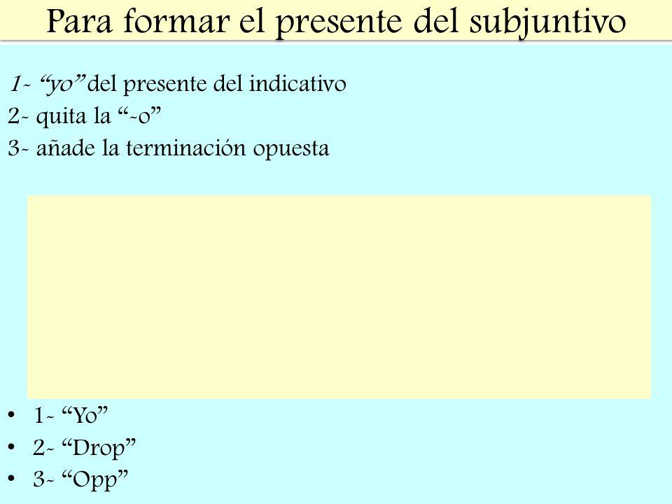 Para formar el presente del subjuntivo 1- yo del presente del indicativo 2- quita la -o 3- añade la terminación opuesta 1- Yo 2- Drop 3- Opp -AR -ER/I