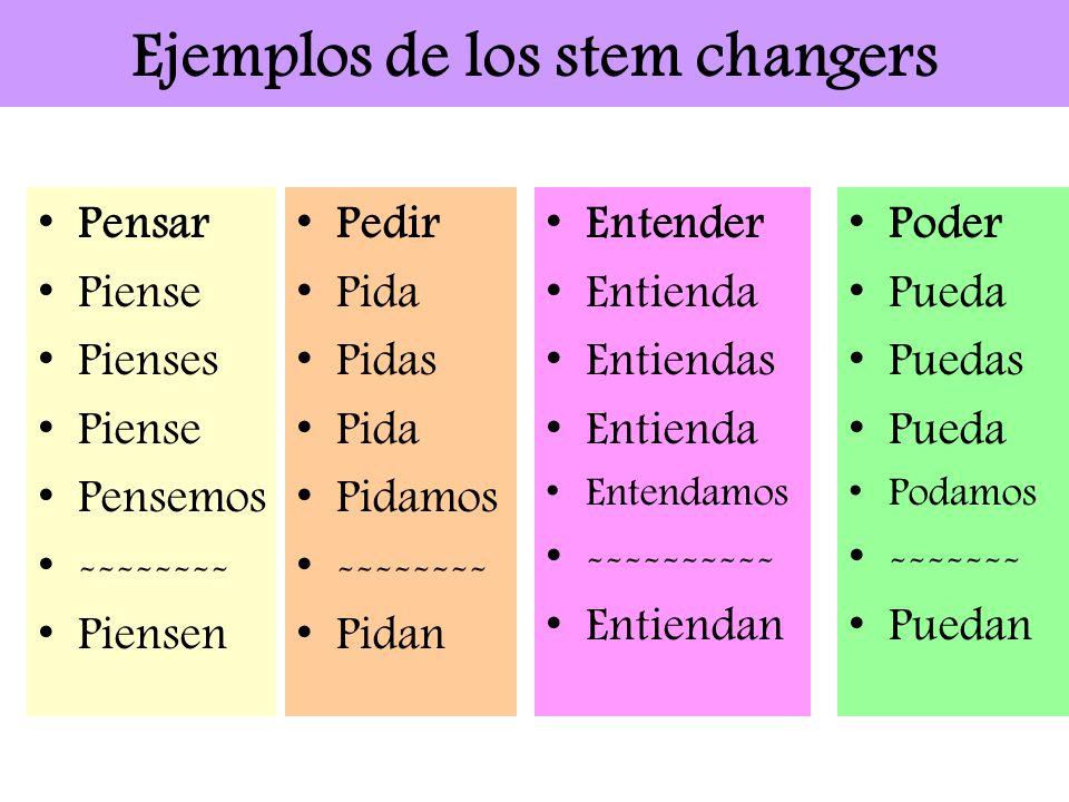 Ejemplos de los stem changers Pedir Pida Pidas Pida Pidamos -------- Pidan Pensar Piense Pienses Piense Pensemos -------- Piensen Entender Entienda En