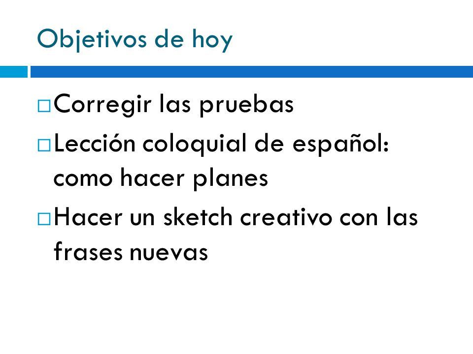 Objetivos de hoy Corregir las pruebas Lección coloquial de español: como hacer planes Hacer un sketch creativo con las frases nuevas