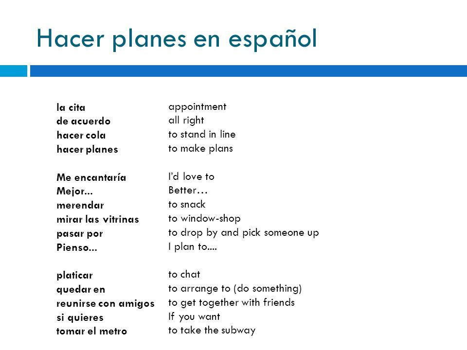 Hacer planes en español la cita de acuerdo hacer cola hacer planes Me encantaría Mejor... merendar mirar las vitrinas pasar por Pienso... platicar que