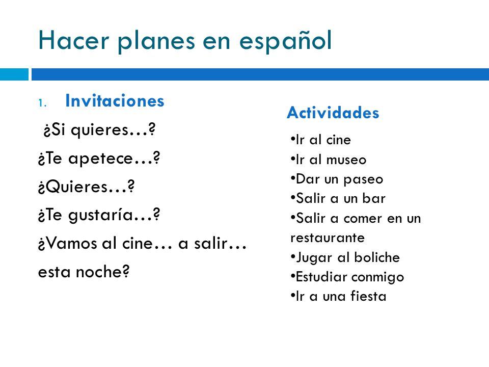 Hacer planes en español 1. Invitaciones ¿Si quieres…? ¿Te apetece…? ¿Quieres…? ¿Te gustaría…? ¿Vamos al cine… a salir… esta noche? Ir al cine Ir al mu