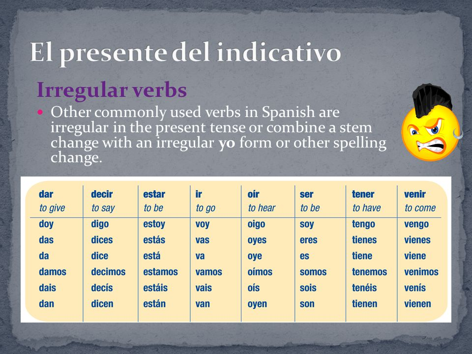 Categorize and conjugate the following verbs in the present tense.