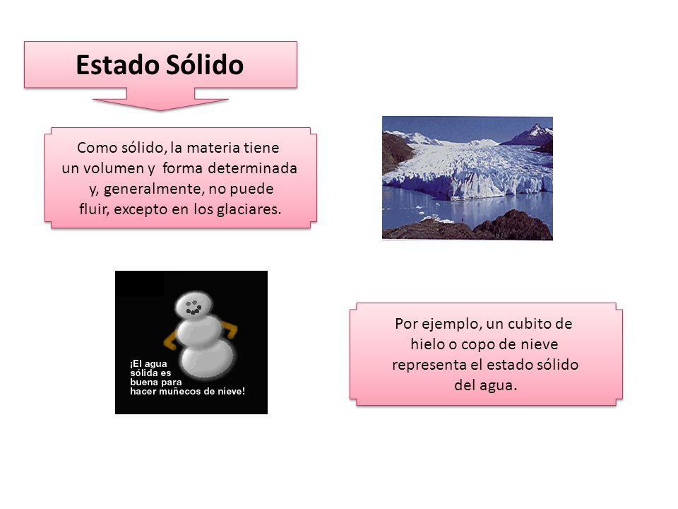Estado Sólido Como sólido, la materia tiene un volumen y forma determinada y, generalmente, no puede fluir, excepto en los glaciares.