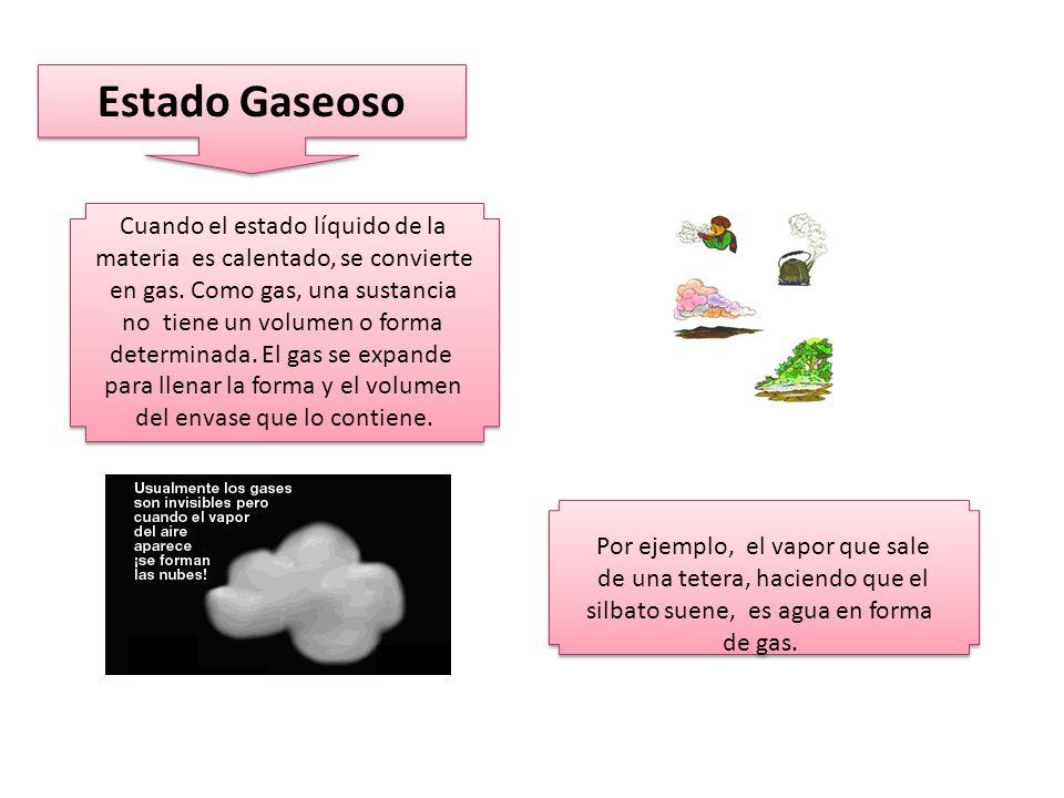Estado Gaseoso Cuando el estado líquido de la materia es calentado, se convierte en gas.
