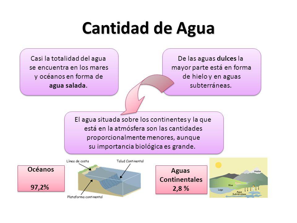 Cantidad de Agua Océanos 97,2% Océanos 97,2% Aguas Continentales 2,8 % Aguas Continentales 2,8 % Casi la totalidad del agua se encuentra en los mares y océanos en forma de agua salada.