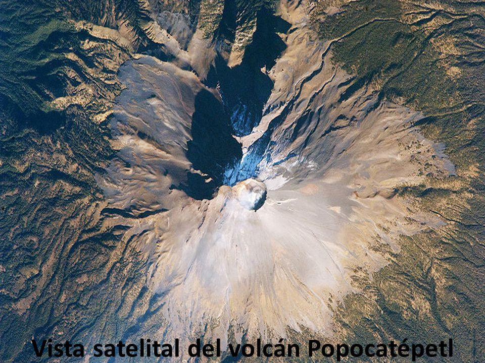 Vista satelital del volcán Popocatépetl