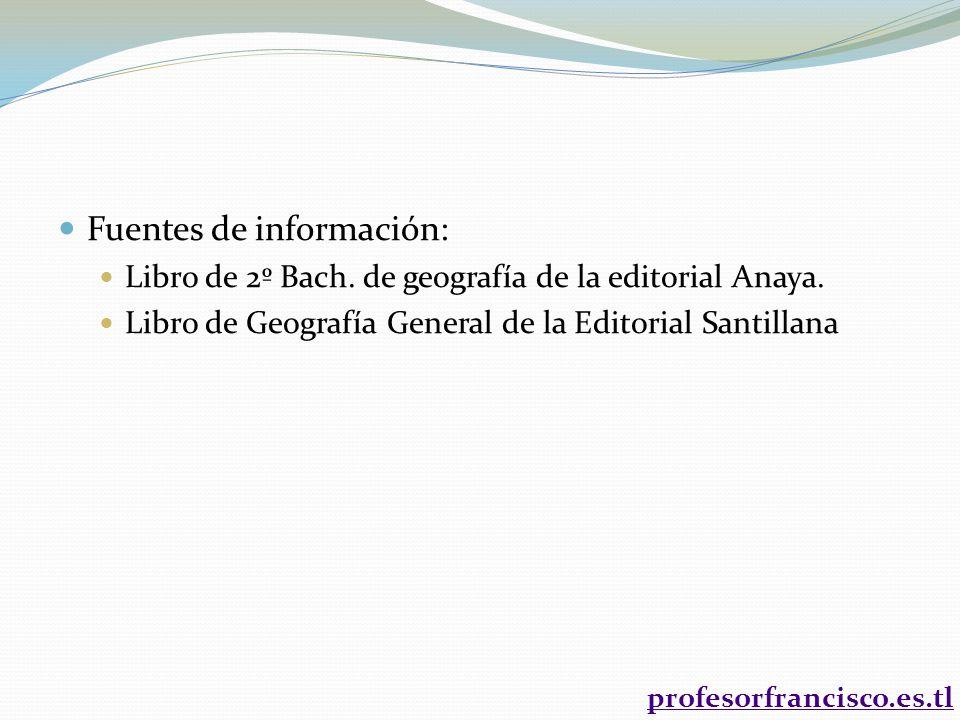 Fuentes de información: Libro de 2º Bach. de geografía de la editorial Anaya. Libro de Geografía General de la Editorial Santillana