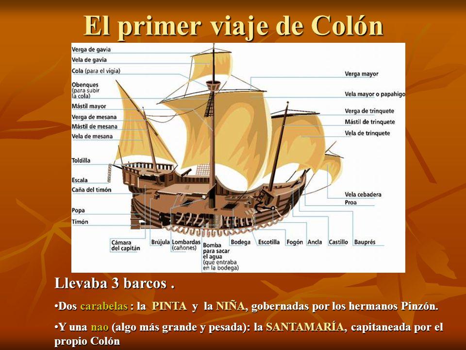 El primer viaje de Colón Llevaba 3 barcos. Dos carabelas : la PINTA y la NIÑA, gobernadas por los hermanos Pinzón.Dos carabelas : la PINTA y la NIÑA,