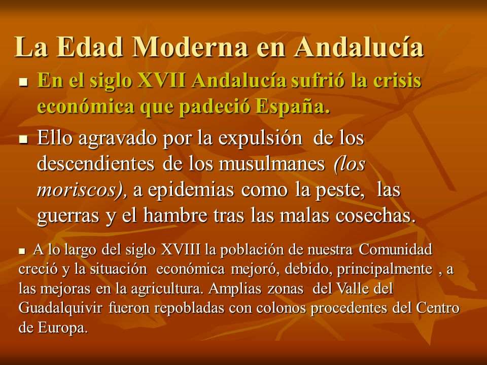 La Edad Moderna en Andalucía En el siglo XVII Andalucía sufrió la crisis económica que padeció España. En el siglo XVII Andalucía sufrió la crisis eco