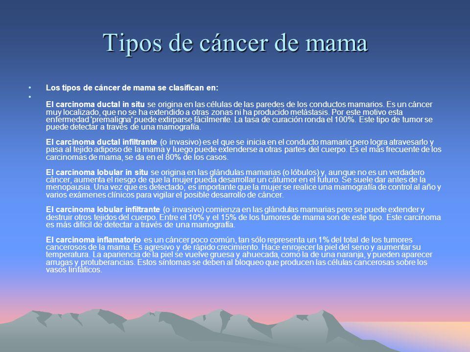 Tipos de cáncer de mama Los tipos de cáncer de mama se clasifican en: El carcinoma ductal in situ se origina en las células de las paredes de los conductos mamarios.