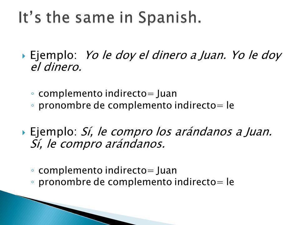 Ejemplo: Yo le doy el dinero a Juan. Yo le doy el dinero. complemento indirecto= Juan pronombre de complemento indirecto= le Ejemplo: Sí, le compro lo