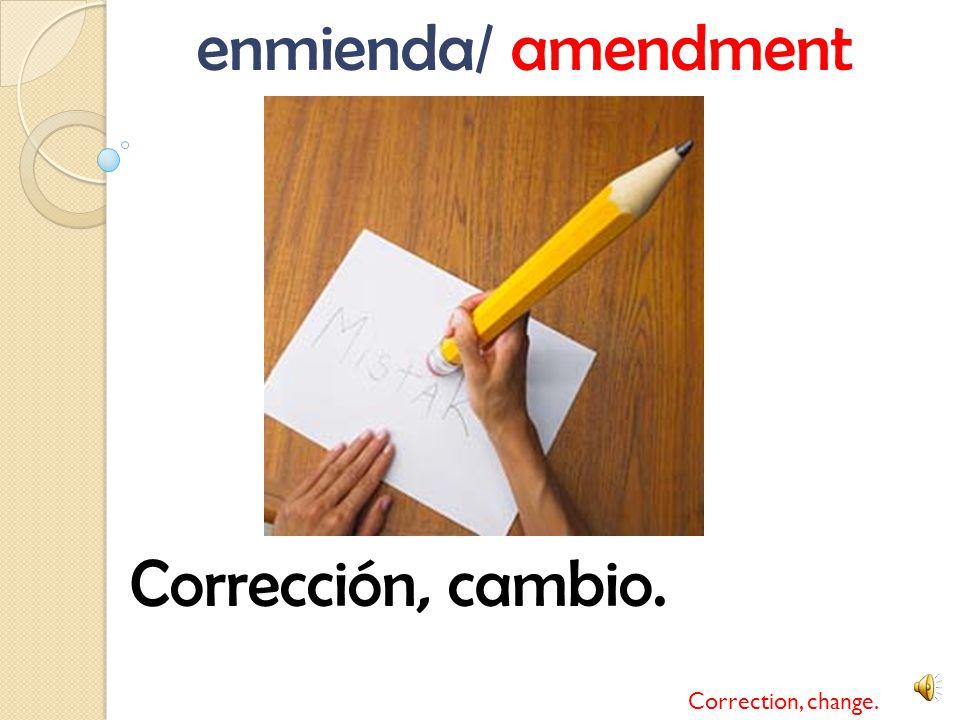 enmienda/ amendment Corrección, cambio. Correction, change.