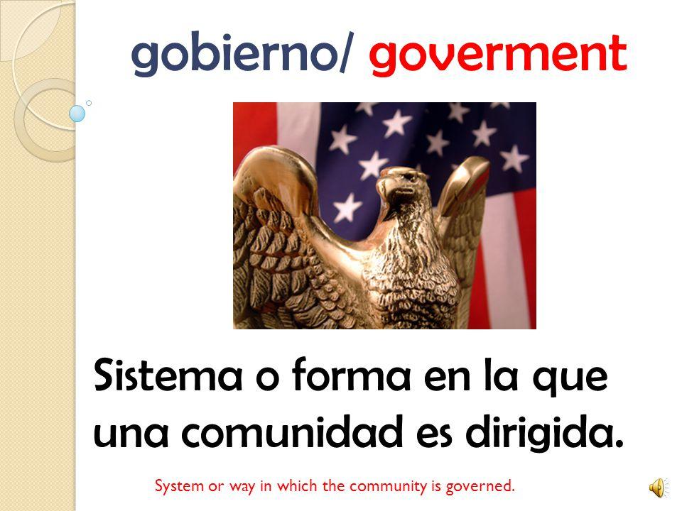 gobierno/ goverment Sistema o forma en la que una comunidad es dirigida.