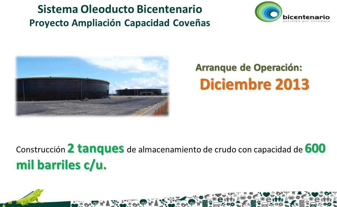 Sistema Oleoducto Bicentenario Proyecto Ampliación Capacidad Coveñas 2 tanques 600 mil barriles c/u. Construcción 2 tanques de almacenamiento de crudo