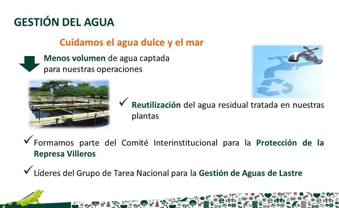GESTIÓN DEL AGUA Cuidamos el agua dulce y el mar Menos volumen de agua captada para nuestras operaciones Reutilización del agua residual tratada en nu