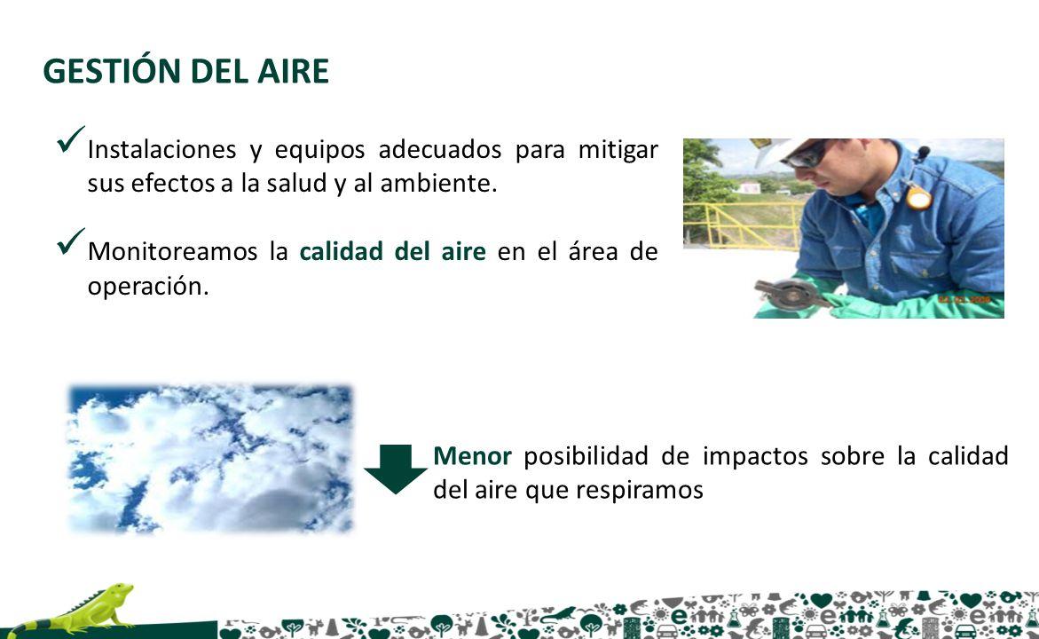 GESTIÓN DEL AIRE Instalaciones y equipos adecuados para mitigar sus efectos a la salud y al ambiente. Monitoreamos la calidad del aire en el área de o