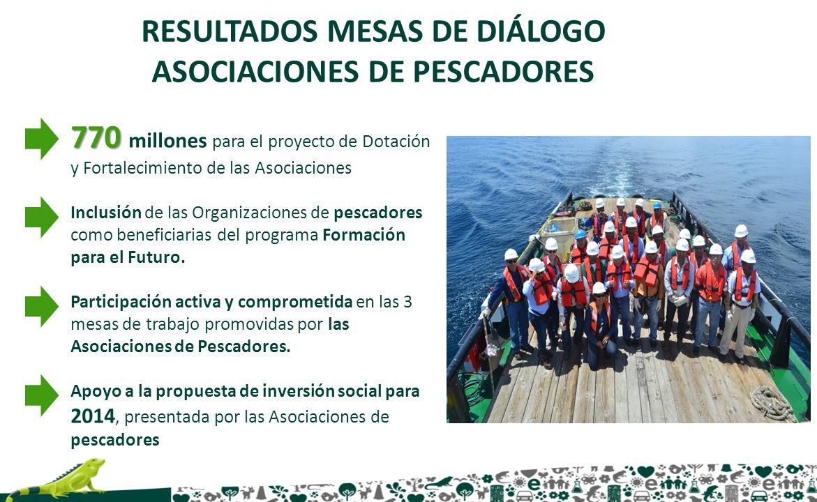 770 770 millones para el proyecto de Dotación y Fortalecimiento de las Asociaciones Inclusión de las Organizaciones de pescadores como beneficiarias d