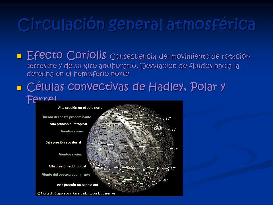 Circulación general atmosférica Efecto Coriolis Consecuencia del movimiento de rotación terrestre y de su giro antihorario.