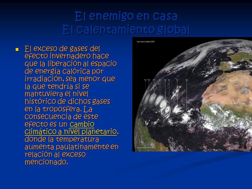 El enemigo en casa El calentamiento global El exceso de gases del efecto invernadero hace que la liberación al espacio de energía calórica por irradiación, sea menor que la que tendría si se mantuviera el nivel histórico de dichos gases en la troposfera.