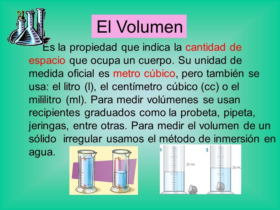 Es la propiedad que indica la cantidad de espacio que ocupa un cuerpo. Su unidad de medida oficial es metro cúbico, pero también se usa: el litro (l),