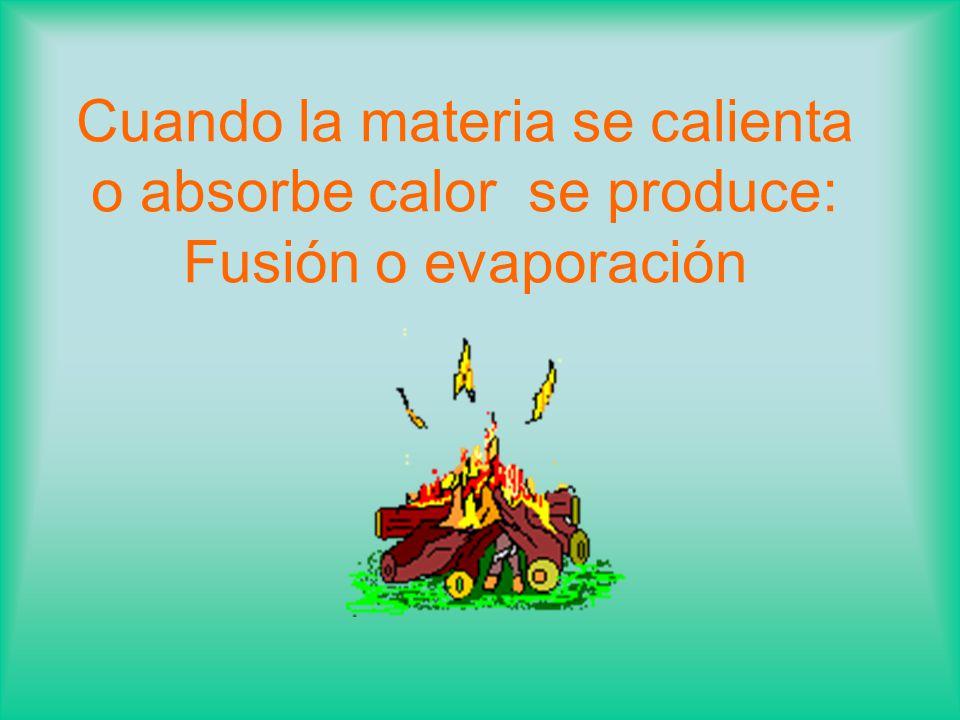 Cuando la materia se calienta o absorbe calor se produce: Fusión o evaporación