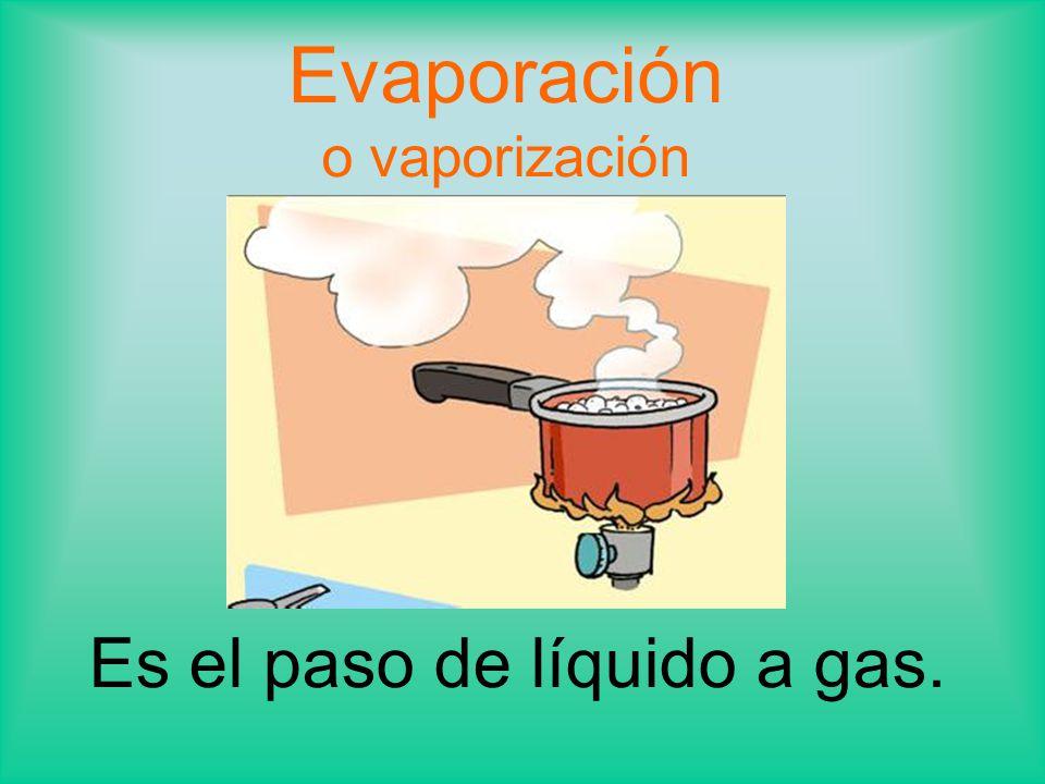 Evaporación o vaporización Es el paso de líquido a gas.