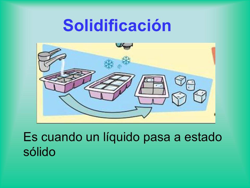 Solidificación Es cuando un líquido pasa a estado sólido