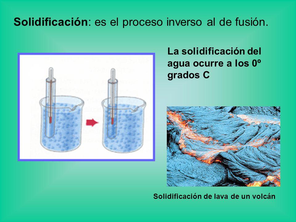 Solidificación: es el proceso inverso al de fusión. La solidificación del agua ocurre a los 0º grados C Solidificación de lava de un volcán