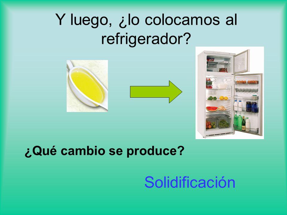 Y luego, ¿lo colocamos al refrigerador? ¿Qué cambio se produce? Solidificación