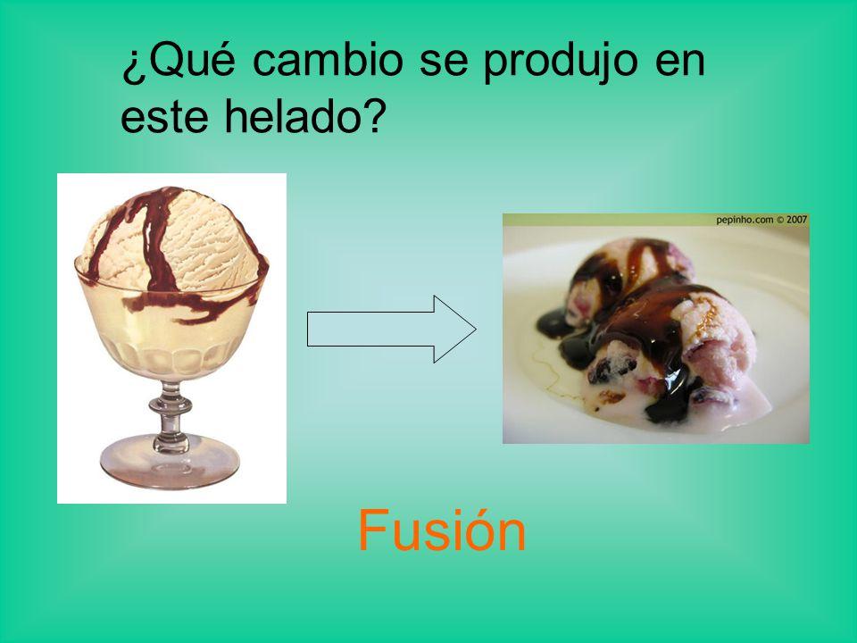 ¿Qué cambio se produjo en este helado? Fusión