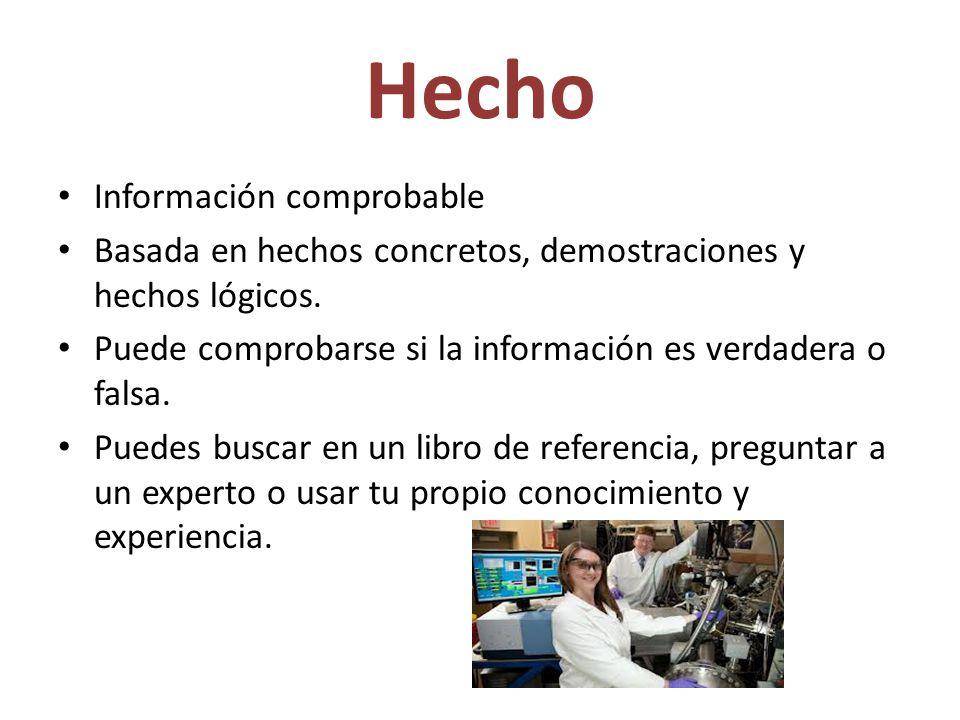 Hecho Información comprobable Basada en hechos concretos, demostraciones y hechos lógicos.