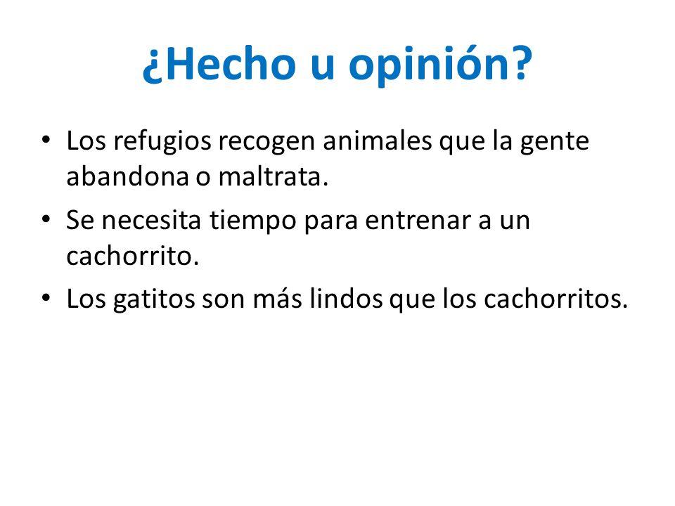 ¿Hecho u opinión? Los refugios recogen animales que la gente abandona o maltrata. Se necesita tiempo para entrenar a un cachorrito. Los gatitos son má