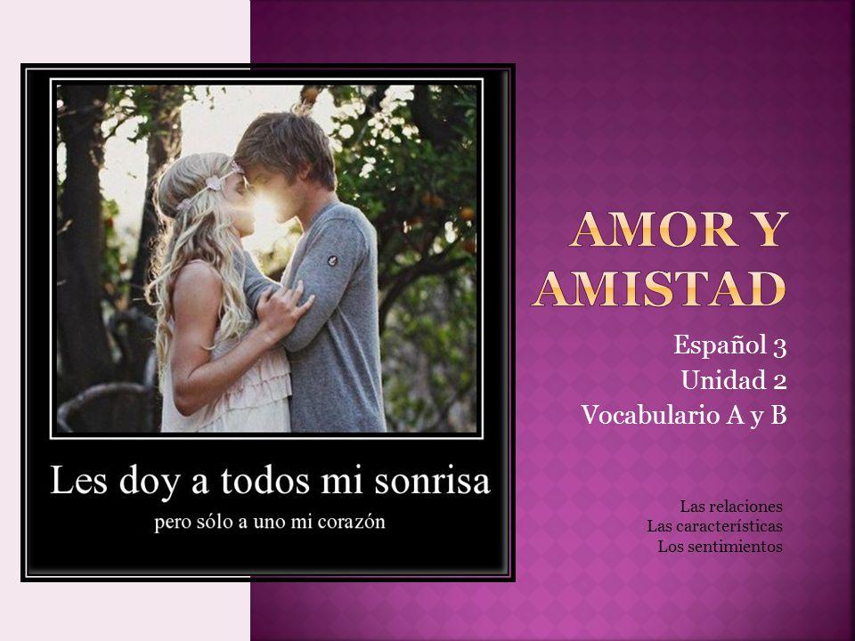 Español 3 Unidad 2 Vocabulario A y B Las relaciones Las características Los sentimientos
