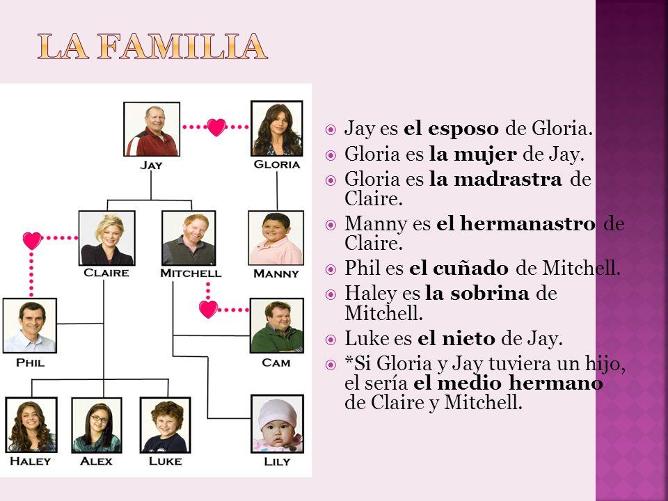 Jay es el esposo de Gloria. Gloria es la mujer de Jay. Gloria es la madrastra de Claire. Manny es el hermanastro de Claire. Phil es el cuñado de Mitch