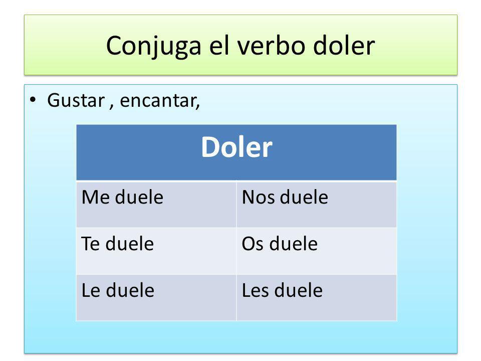 Conjuga el verbo doler Gustar, encantar, Doler Me dueleNos duele Te dueleOs duele Le dueleLes duele