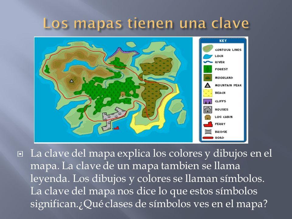 La clave del mapa explica los colores y dibujos en el mapa. La clave de un mapa tambien se llama leyenda. Los dibujos y colores se llaman símbolos. La