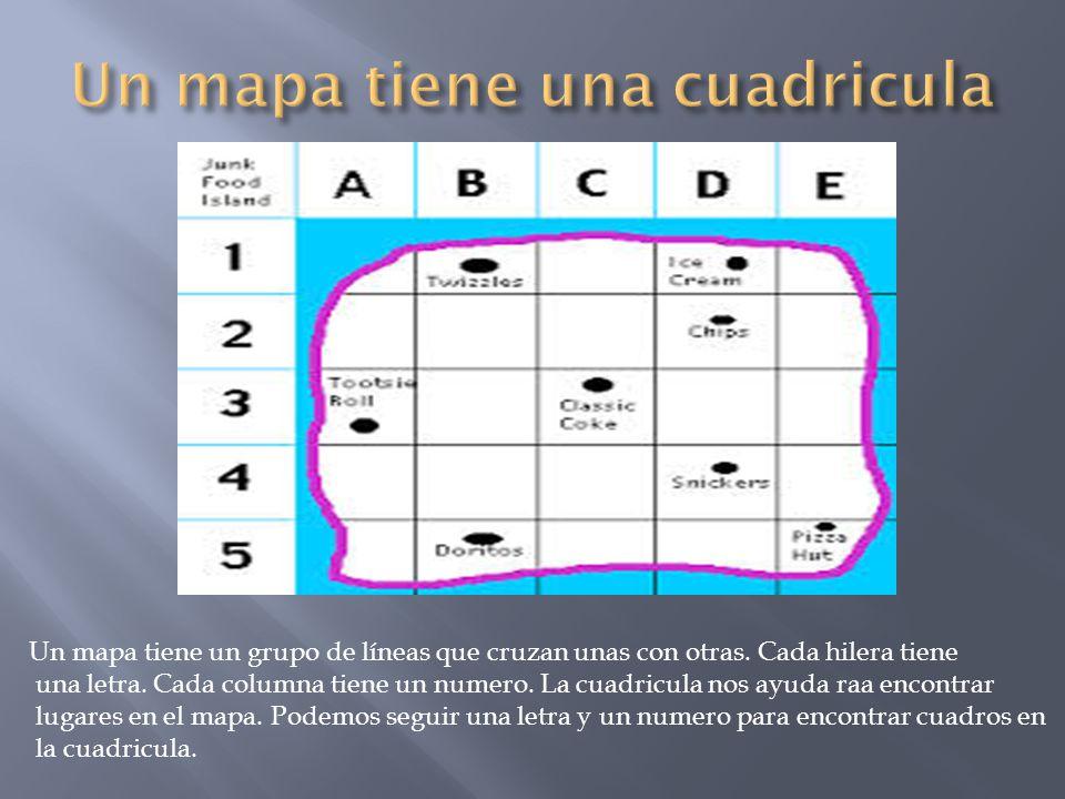 Un mapa tiene un grupo de líneas que cruzan unas con otras. Cada hilera tiene una letra. Cada columna tiene un numero. La cuadricula nos ayuda raa enc