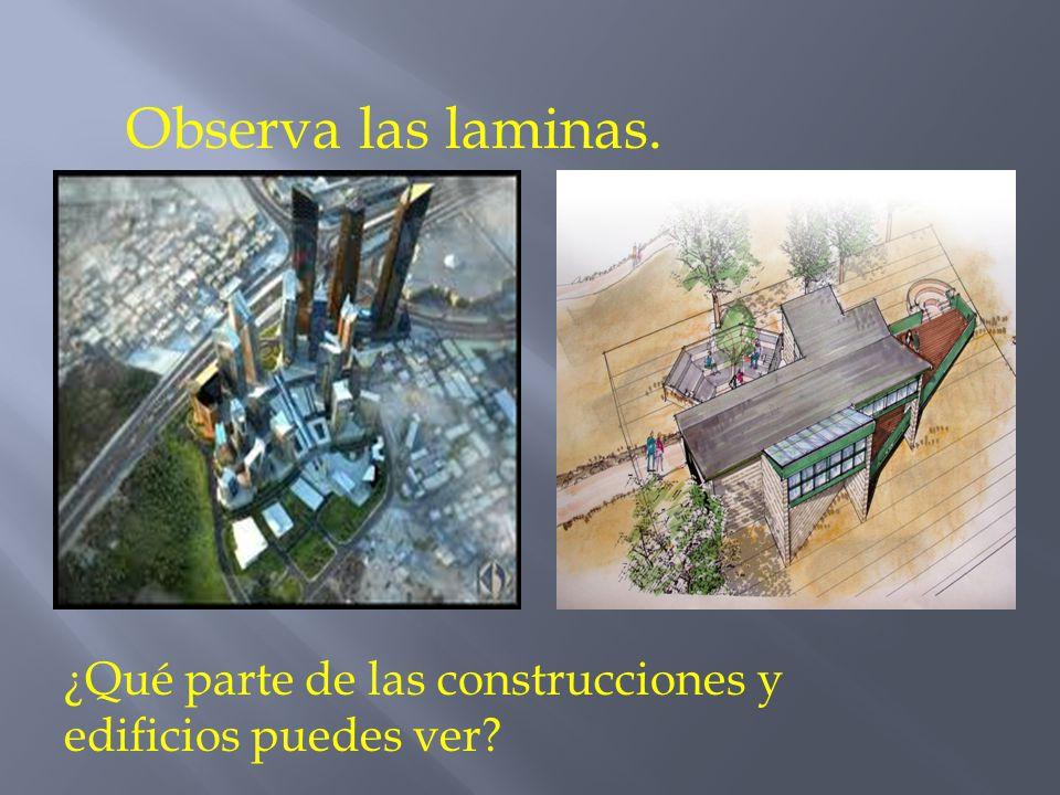 Observa las laminas. ¿Qué parte de las construcciones y edificios puedes ver?