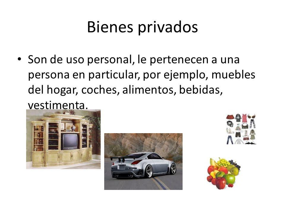 Bienes privados Son de uso personal, le pertenecen a una persona en particular, por ejemplo, muebles del hogar, coches, alimentos, bebidas, vestimenta