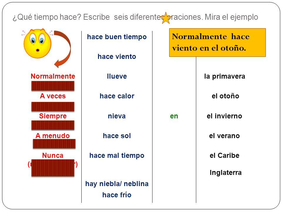 Las respuestas a.Match the Spanish to the English Hace buen tiempo Its cloudy Hace mal tiempo The weather is good Está nublado Its foggy Hay niebla Th
