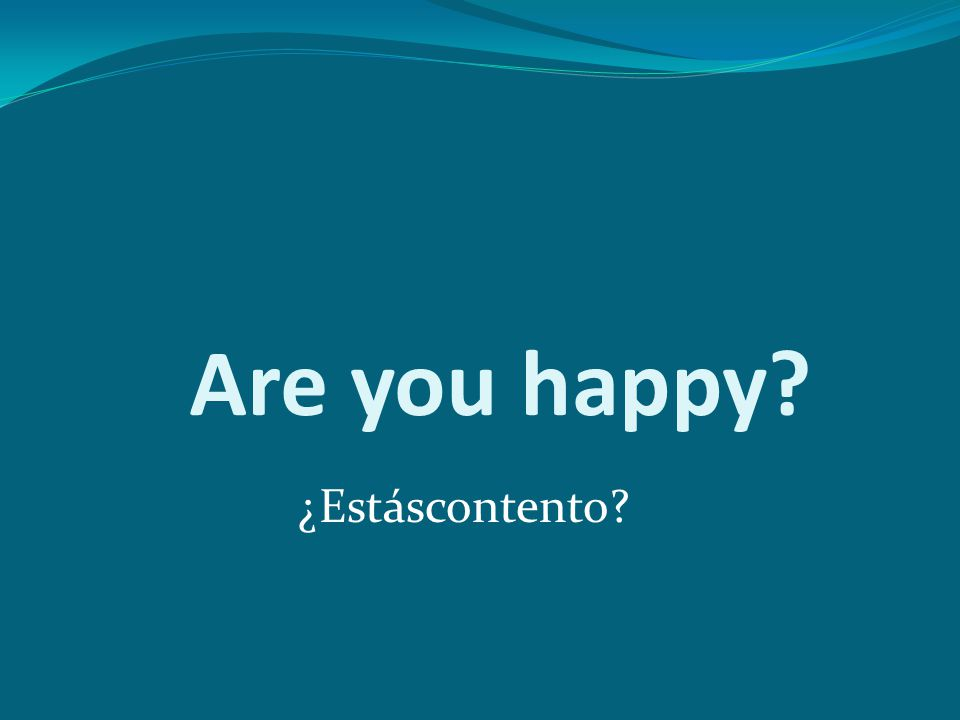 Are you happy ¿Estáscontento