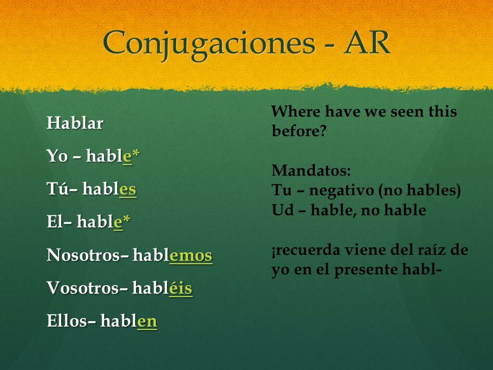 Conjugaciones - AR Hablar Yo – hable* Tú– hables El– hable* Nosotros– hablemos Vosotros– habléis Ellos– hablen Where have we seen this before? Mandato