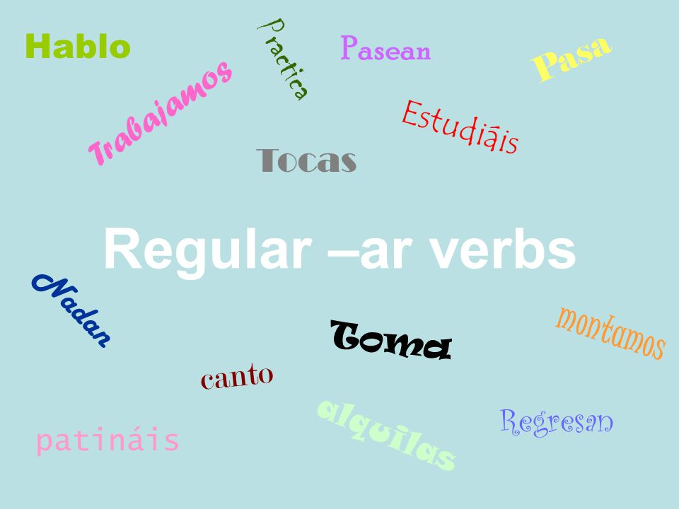 Irregular Verbs Irregular verbs do not follow the rules of regular verbs, meaning that they conjugate in a different way.