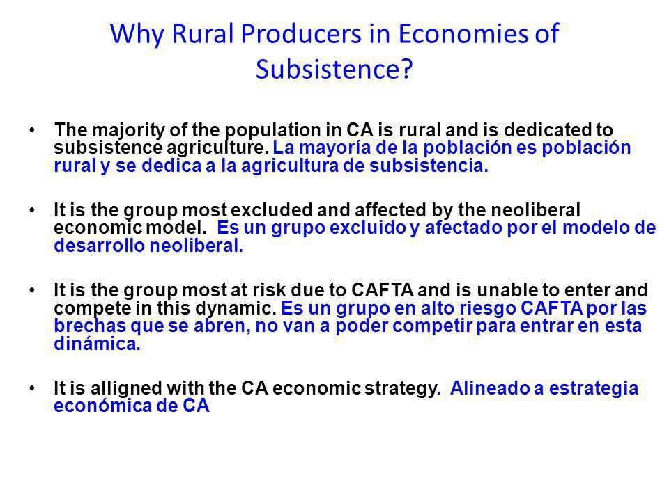 Why Rural Producers in Economies of Subsistence.