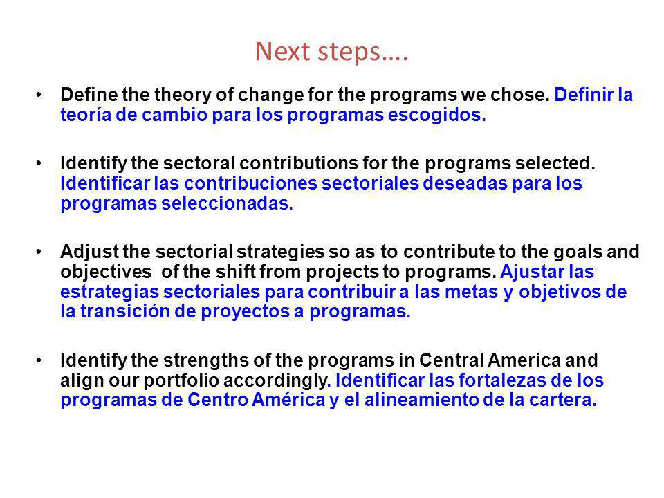 Next steps…. Define the theory of change for the programs we chose.