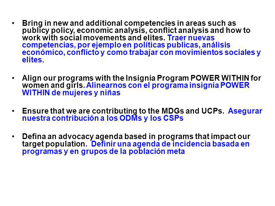Bring in new and additional competencies in areas such as publicy policy, economic analysis, conflict analysis and how to work with social movements and elites.