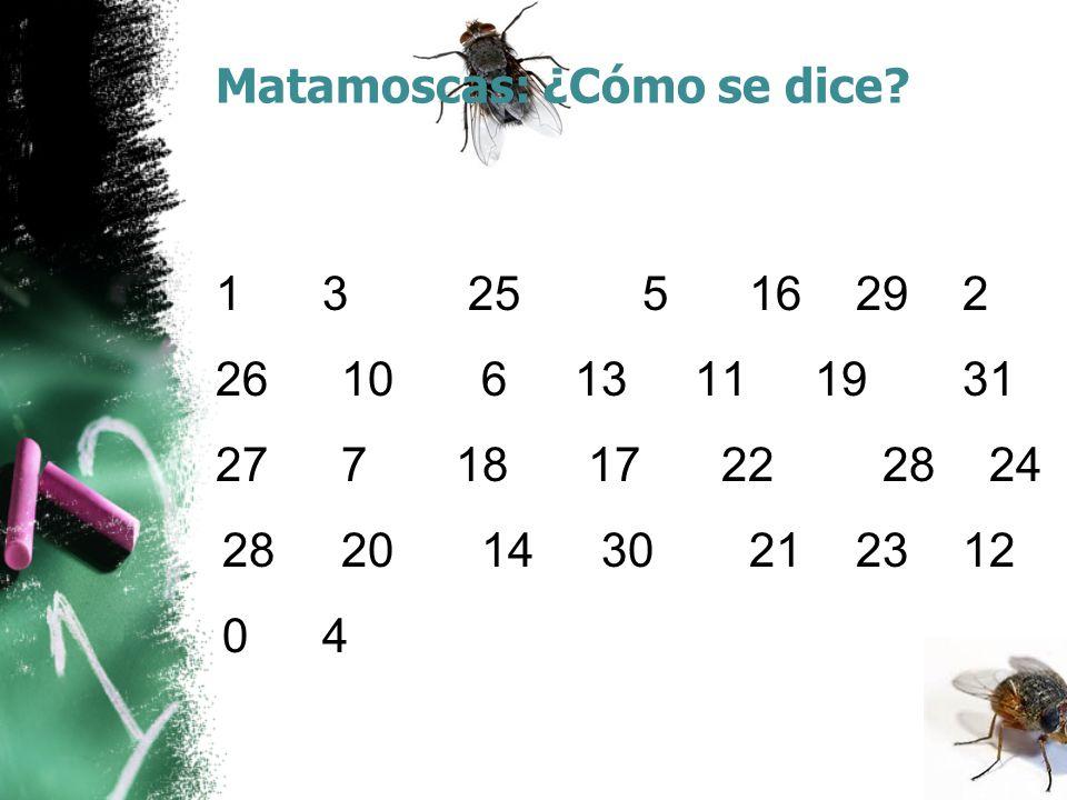 Matamoscas: ¿Cómo se dice? 1 3 25 516292 26 10 6 13 11 1931 27 7 18 17 22 28 24 28 20 14 30212312 04