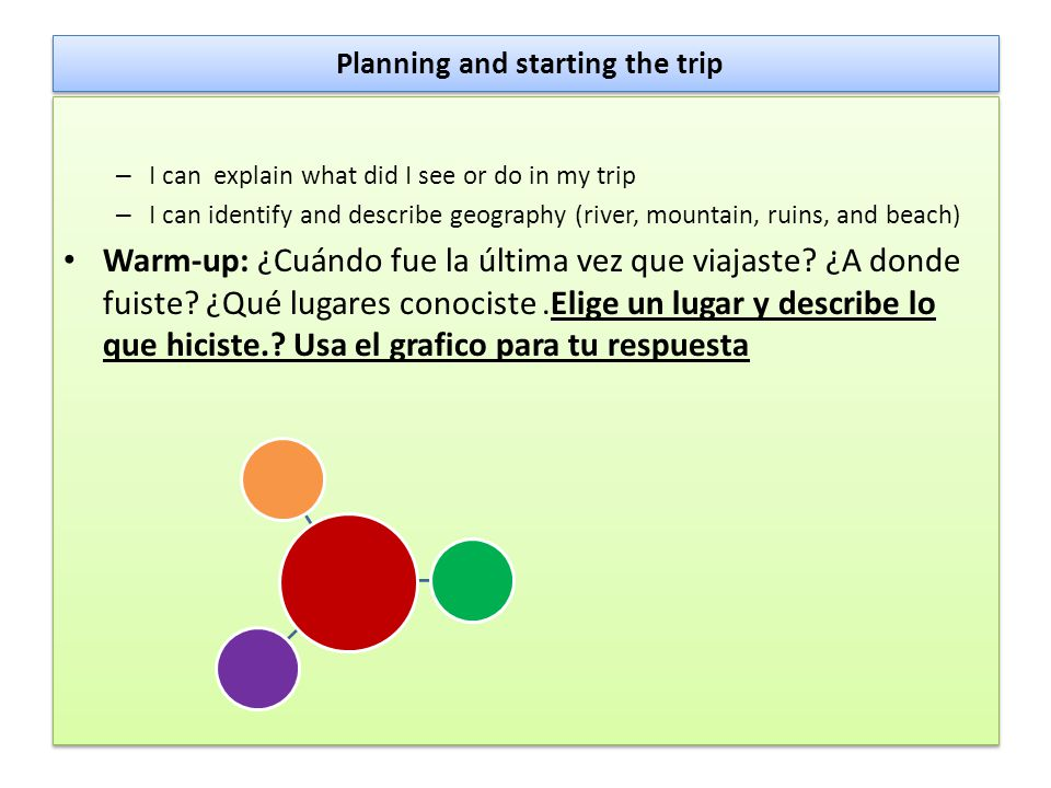 Planning and starting the trip – I can explain what did I see or do in my trip – I can identify and describe geography (river, mountain, ruins, and be